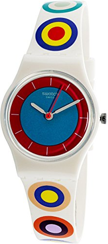 Swatch Women's Originals LW153 White Multicolor Rubber Swiss Quartz Fashion Watch
