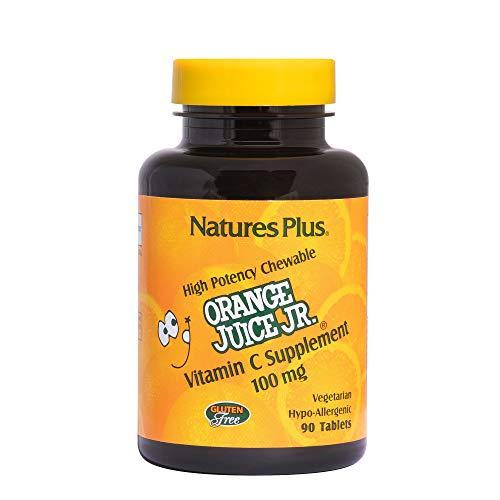 Natures Plus Orange Juice Junior Vitamin C Chewable (Ascorbic Acid) - 100 mg, 90 Vegetarian Tablets - Immune Support Supplement, Antioxidant - Gluten Free - 90 Servings