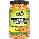 Low Carb Protein Puffs - 21g Protein, 2g Carbs, 120 Cals, Nut Free Baked High Protein Crisps, Keto Friendly, Soy Free, Gluten Free, Potato Free - Best Protein Snack (Jalapeño Cheddar, 300g/10 Servings