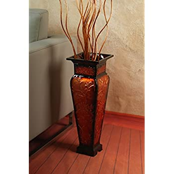 """Hosley 21.25"""" Tall Embossed Floor Vase, Red. Ideal Gift for Home Office, Party, Weddings, Office Decor, Dried Floral O3"""