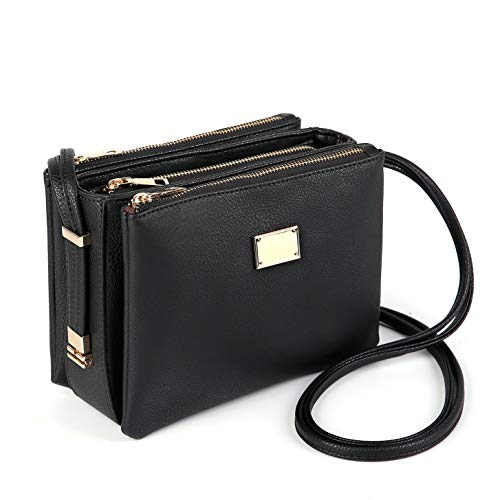 Triple Compartment Crossbody Bag for women with Gold Zipper (Black)