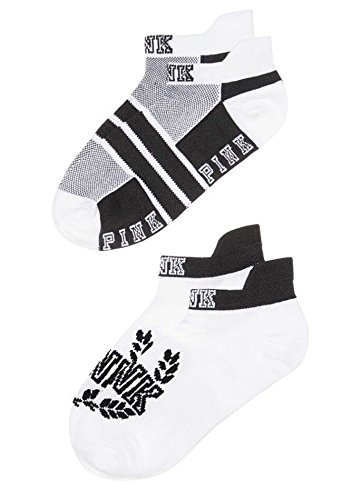 VICTORIA SECRET - BLACK & WHITE ULTIMATE LOW SHOW ANKLE BLACK WHITE AND GREY SET OF 2 PAIRS 2 PAIR - SOCKS - SOLD OUT - Warehouse Line On