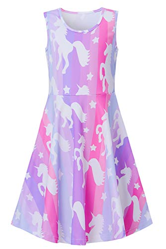 Funnycokid Unicorn Dresses 6-7 Year Old Girls' Casual Sleeveless Sundress Summer Birthday Party Dress