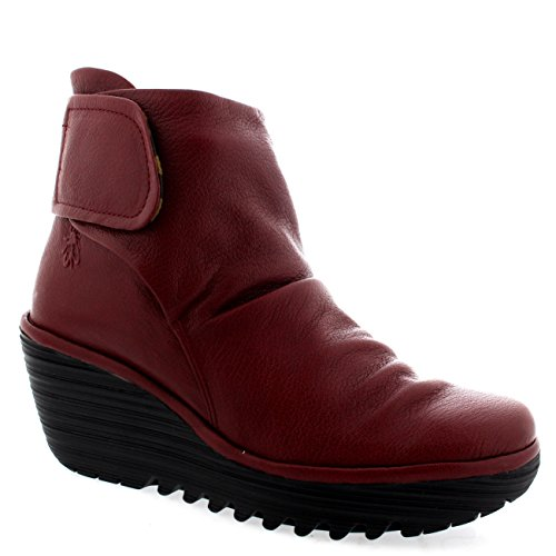 London Boots Fly Heel Velcro Womens Ankle Leather Yegi Cobora Fashion Red Wedge 16axqpwBx