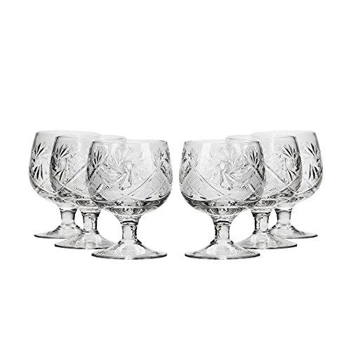 Neman Crystal WG5290, 1.5 Oz Crystal Shot Glasses, Hand Made Tequila/Vodka Shot Glasses, Unique Goblet Shot Glass Set of 6 (Glasses Tequila Snifter)