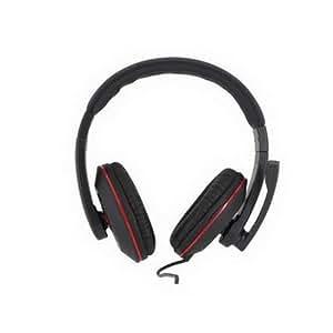 Woxter PCS71908WX234 -  Auriculares diadema con micrófono, color negro y rojo