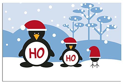 "Tree-Free Greetings EcoNotes 12-Ct Christmas Card Set with Envelopes, 4"" x 6"", Ho Ho Ho Penguins (93440)"