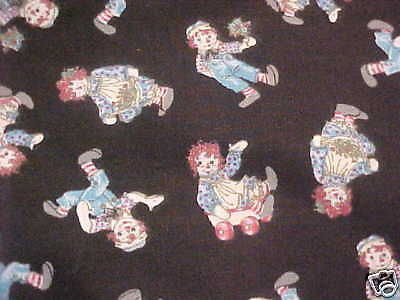 Raggedy Ann & Andy Fabric Kids Fun Doll Black Background 26