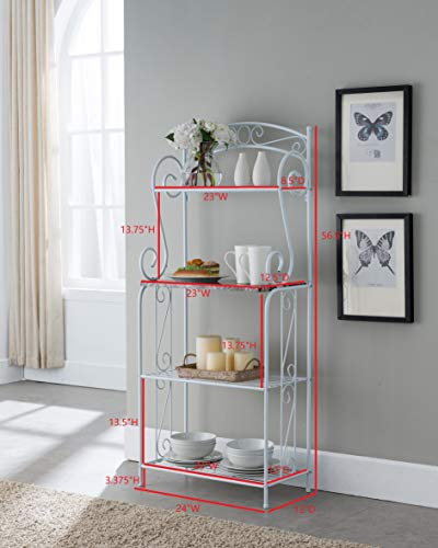 Kings Brand Furniture - Bulberry Metal Kitchen Storage Baker's Rack, White by Kings Brand Furniture (Image #4)