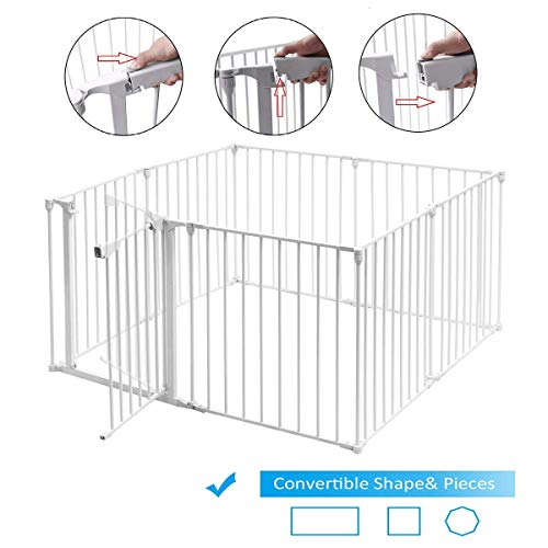 HONEY JOY Baby Safety Gate, 3-in-1 Fireplace Fence, Wide Barrier Gate with Walk-Through Door in Two Directions, Wall-Mount Metal Gate for Pet Child White, 8-Panel