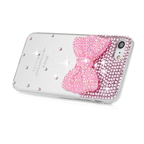 iPhone 7 Hülle, Yokata Luxury Transparent mit Rosa Bowknot Motiv Case Glitzer Bling 3D Diamant Cover PC Hart Plastik Schutz Creative Schutzhülle + 1 X Stylus Pen