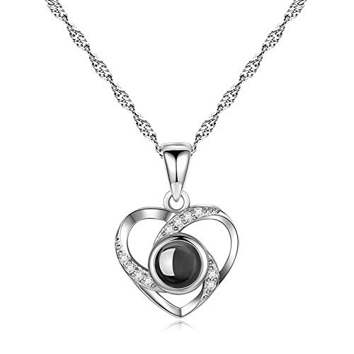(Inf-way I Love You Necklace, 100 Languages Projection on Round Onyx Pendant Loving Memory Collarbone Necklace 1 Pcs (925 Heart to Heart Silver))