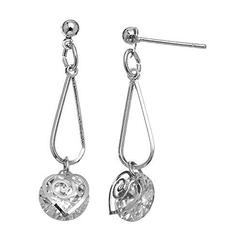 Howard's Dazzlers - Silver Cubic Zirconia Heart Cutout Drop Earring