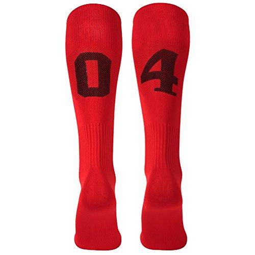 On Jersey Softball At (3street School Soccer Socks Over Knee High Numbered Wicking Moisture Football Sport Team Socks for Boys Girls Red Black)