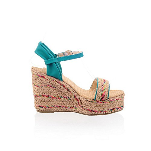 Heels Open Assorted Blend High Womens Buckle Color Sandals Blue Toe AllhqFashion Materials qB0OYAw