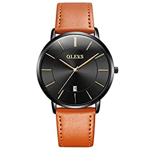 OLEVS Mens Watch - Ultra Thin Fashionable Minimalist - Stainless Steel Bezel Buckle - Luxury Leather Strap - Casual Japanese Quartz Watches for Men