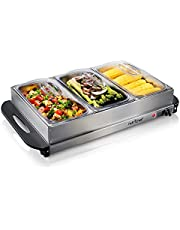 NutriChef 3 Buffet Warmer Server - Professional Hot Plate Food Warmer Station , Easy Clean Stainless Steel , Portable & Great for Parties Holiday & Events - Max Temp 175F (PKBFWM33)