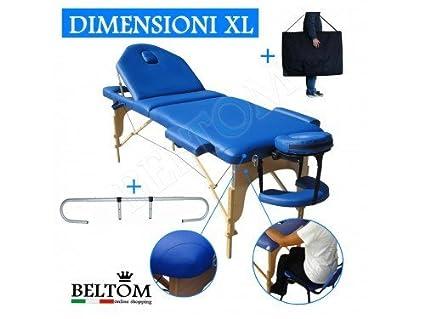 Lettino Da Massaggio Blu 3zone Nuovo Modello 195 225 X 70 Cm