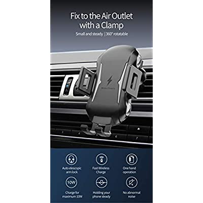 Wireless Car Charger Mount Kit,Automatic Clamping Qi Fast Wireless Car Charger,Smart Sensor USB Car Phone Holder,2 in 1 Air Vent Mount & Windshield Dashboard,Compatible with iPhone & Samsung