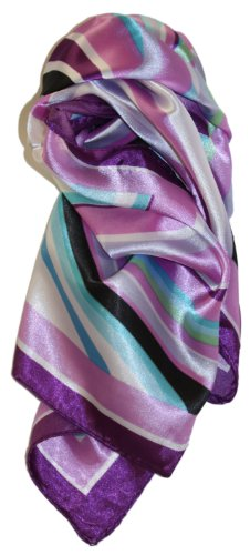 LibbySue-Quintessential Graphic Print Silk Blend Neckerchief Square Scarves in White & Pastels