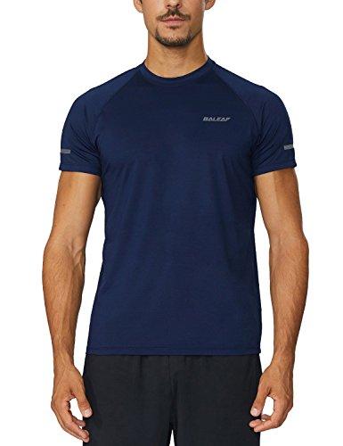 Baleaf Men's Quick Dry Short Sleeve T-Shirt Running Fitness Shirts Navy Size L