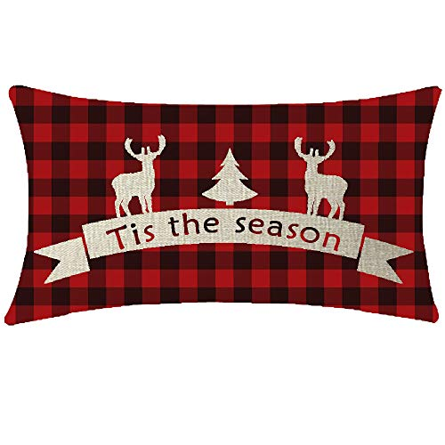 NIDITW Sister Tis The Season Deer Reindeer Christmas Tree Black and Red Buffalo Checkers Plaids Cotton Burlap Linen Throw Pillow case Cushion Cover Sofa Decorative Oblong 12X20 Inches (Christmas Burlap Decor With)