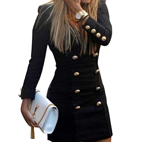 Casual Donna Blazer Ufficio Tailleur Colore Vestito Manica Corti Puro Abbigliamento Dress Nero Vestiti Eleganti Doppio V Mini Da Lunga Tubino Ragazze Petto Neck Abito Giorno Vestitini Abiti qrTr4wI