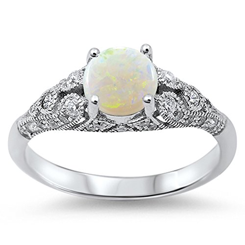 925 Sterling Silver Round Cabochon Natural Genuine White Opal Vintage Wedding Ring Size 9 ()