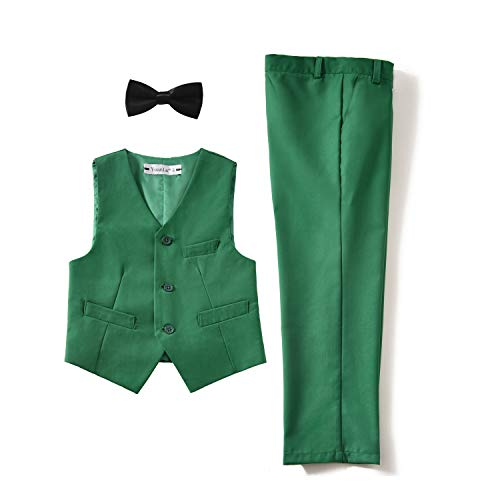 Piece Formal Toddler Kids Slim Fit Vest and Pants Set with Bowtie Green Size 2T ()