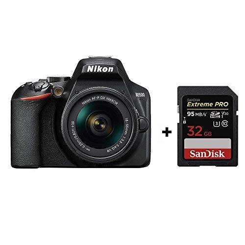 Nikon D3500 + AF-P DX 18–55 VR Kit,24.2 MP DX-format sensor, ISO light + 32G Memory Card,Black