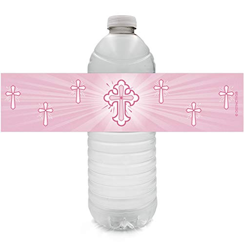 Pink Baptism Party Water Bottle Labels for Girl | Religious Cross | 24 Stickers