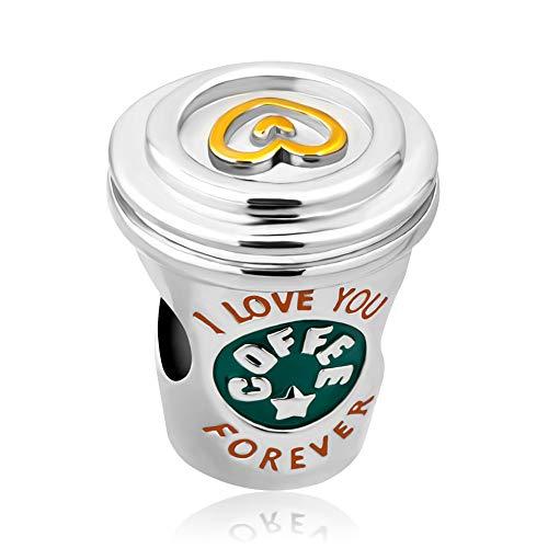Casa De Novia Jewelry I Love Coffee Charm Green Enamel Heart Mug Cup Bead for European Bracelet&Necklace