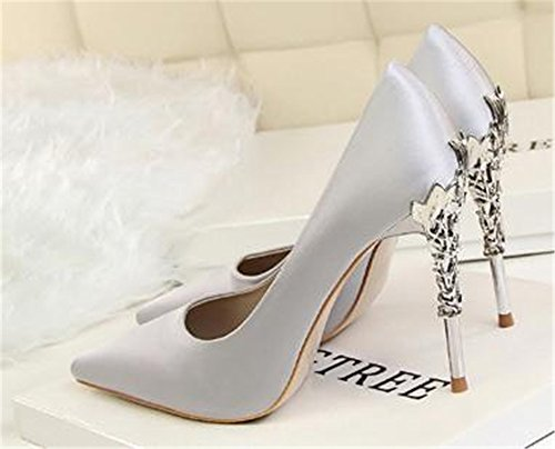 Wedding Shoes Shoes coollight Suede Metal Brief Shoes Sexy Korean with Stiletto with Fashion Pointed Gray High Carved Heel aqaZUn61