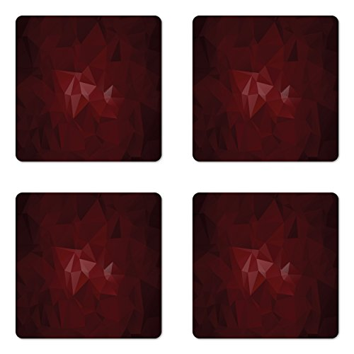 Lunarable Burgundy Coaster Set of Four, Geometrical Design with Triangles in Dark Color Fractal Look Mosaic Poly Effect, Square Hardboard Gloss Coasters for Drinks, Burgundy Ruby