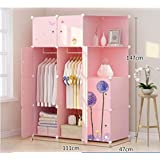 Yigui Portable Clothes Closet Wardrobe Bedroom Armoire Dresser Cube Storage Organizer,Space Saving,Ideal Storage Organizer,10Doors + 4Grid + 2Hanging Sections