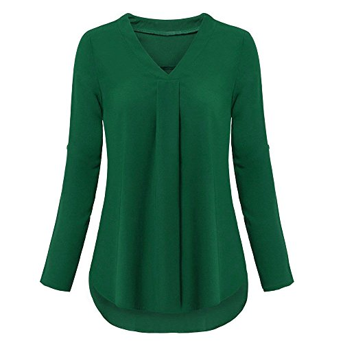 Longues V Top Blouses Automne Col Vert Chemise up Roll Femmes Casual Manches Couches Vjgoal À IvUww0