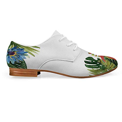 Leaf Leather Lace up Oxfords Shoes,Exotic Flowers Bamboo Climbing Dayflower Littlebell Coral Creeper Print Bootie for Girls ladis Womens,US 9 ()