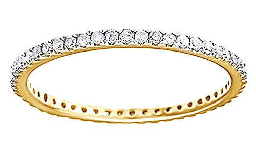 White Natural Diamond Eternity Wedding Band Ring In 10K Solid Yellow Gold (0.5 Ct) by AFFY