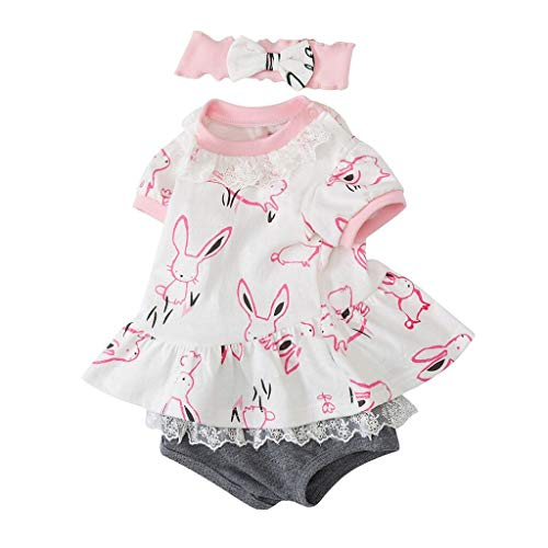 MOGOV Baby Girls Easter Outfits Cute Bunny Tops+Shorts Set +Bow Hair Band 9Pcs Clothes Outfit Pink ()