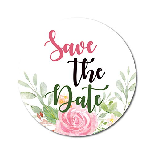 Darling Souvenir 1.6 Inches Round Wedding Envelope Seals Rose Floral Save The Date Stickers-45 Pcs