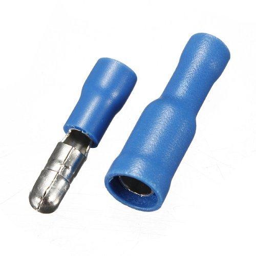 Onwon 50 PCS Blue 14-16 Awg Gauge Male-Female Solderless Crimp Bullet Plug Connectors Bullet Butt Connector wire Bullet Insulated Crimp Terminals ()