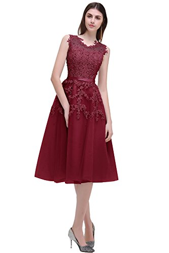 Women's Beads Tulle Short Cocktail Prom Dress Clubwear Dress,Wine Red,6