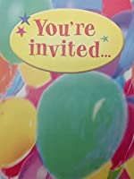 "(16) Kids ""You're Invited"" Colorful Balloons Birthday Party Fill-in Invitations Cards by Tender Thoughts Greetings"