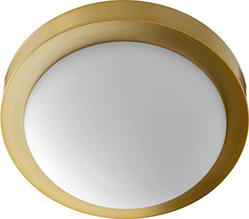 (Quorum 3505-11-80 Flush Mount, 2-Light, 80 Total Watts, Aged Brass )