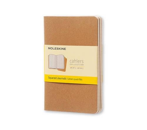 Moleskine Cahier Journal (Set of 3), Pocket, Squared, Kraft Brown, Soft Cover (3.5 x 5.5): set of 3 Square Journals