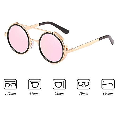 15496aea14220c ... Mode Lunettes de soleil rondes lunettes de soleil Steampunk hibote Femmes  Hommes Lunettes de vue Retro ...