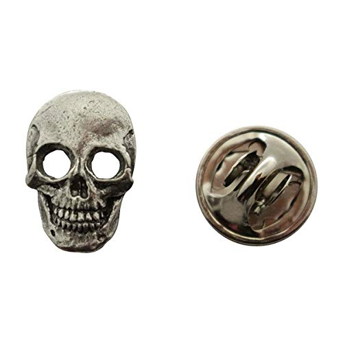 Sarah's Treats & Treasures Skull Mini Pin ~ Antiqued Pewter ~ Miniature Lapel Pin - Crossbones Pin