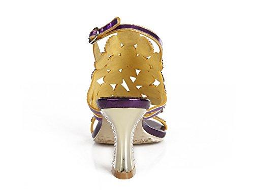 Mujer Nupcial a real Tacón Noche de Sandalias Medio mano Paseo imitación Diamante Señoras Hecho Purple Pavo Boda Estampado fCrwfFq