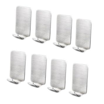 MoGist 8 Pieza Auto-Adhesivos Colgador para Toalla de Mano sin Agujeros Fácil Acero Inoxidable Cocina Cuarto de baño Puerta Ganchos Pared: Amazon.es: Hogar