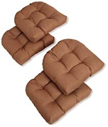 Blazing Needles Indooroutdoor Spun Poly 19-inch By 19-inch By 5-inch All Weather Uv Resistant U-shaped Cushions, Mocha, Set Of 4